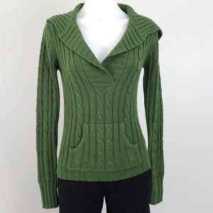 Cable Knit V-Neck Sweater Sz M